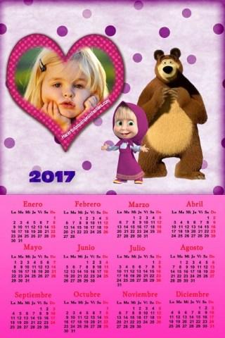 Fotomontaje de Masha y el Oso - Calendario 2017 de Calendario Masha y el Oso - Almanaques infantiles con foto - Masha y El oso marcos para fotos
