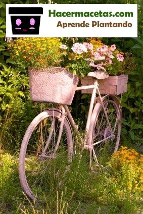 biciclieta reciclada en macetero