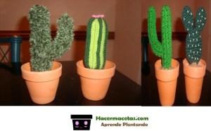 decoracion con cactus tejidos