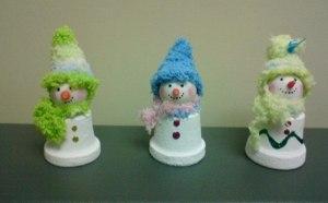 Divinas minimacetas decoradas como hombresitos de nieve