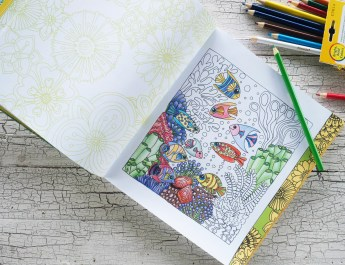 coloring book with colored pencils