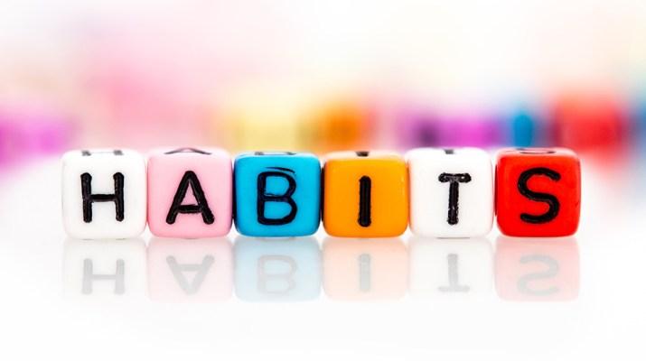 Colorful letter cubes spelling Habits