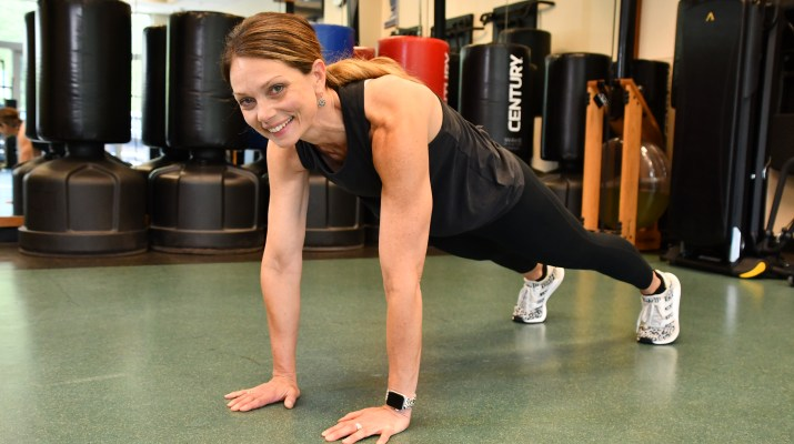 Hac personal trainer Renee Paoli in push up position