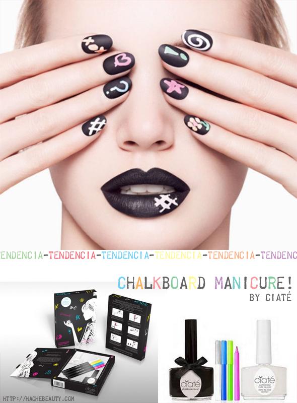 uñas pizarrón chalkboard manicure