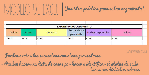wedding casamiento orgnizacion excel