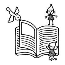 本と人と鳥の絵