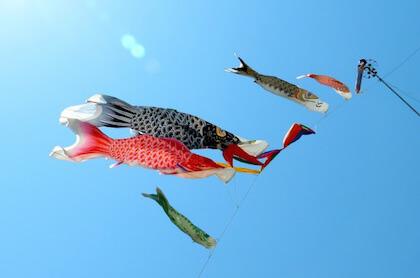 こどもの日に青い空を泳ぐ鯉のぼり