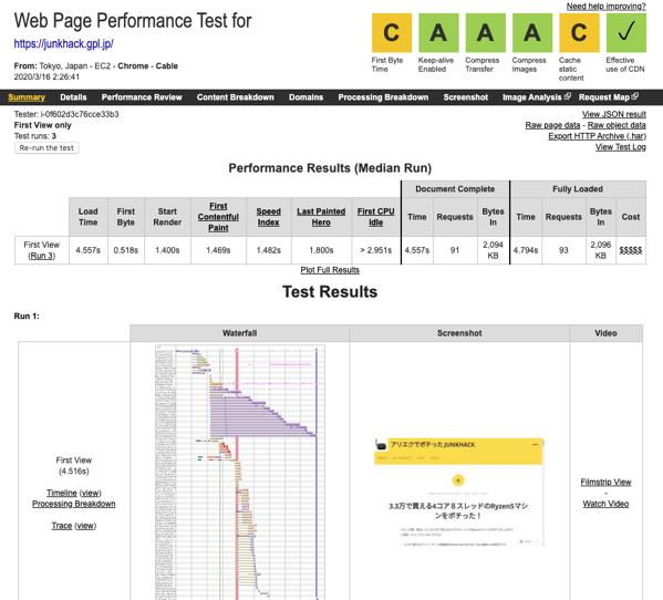 WebPageTest Test Result Tokyo junkhack gpl jp 03 16 20 02 26 41