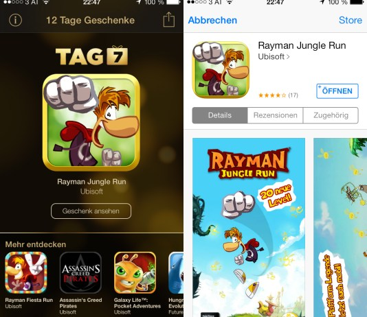 Rayman Jungle Run, kostenlos, iTunes 12 Tage Geschenke, Tag 07, Review, Anleitung, Download, Hack4Life, Fabian Geissler