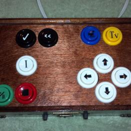 Completed controller includes decals for the buttons.