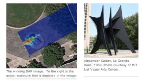 "SAR image of the Alexander Calder statue, La Grande Volie, 1968 (<a href=""http://www.ll.mit.edu/news/iapradarcourse.html"")"