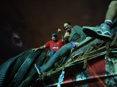 Greg Needel and Caleb Craft riding the dragon