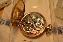 Waltham Riverside pocket watch after cleaning and oiling.