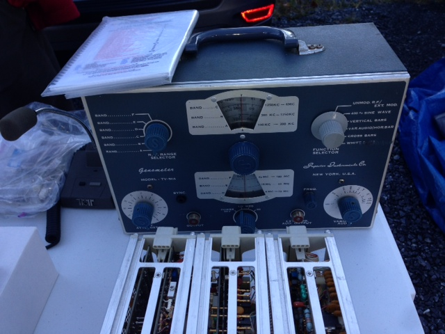 Examples of TV/radio repairman or hobbyist vacuum tube signal generators, clearly one of these has been re-capped (photo courtesy of Scott Pastor KC8KBK).