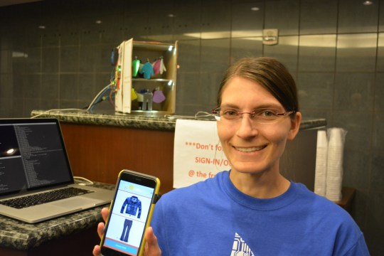 [Claire] demonstrating robotic closet demo and app