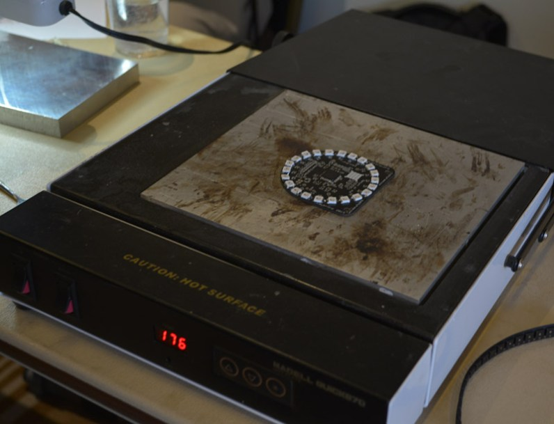 A hot plate was available for those who were not cool enough to solder 22 smd LEDs