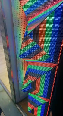 Triangle LED modules form pyramid displays