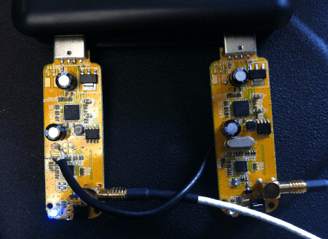 two RTLSDR R820T dongles modified to share a common oscillator.