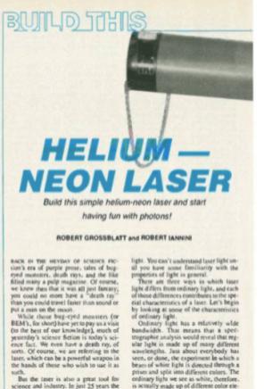 Build your own Helium Neon Laser (Radio Electronics June 1986).