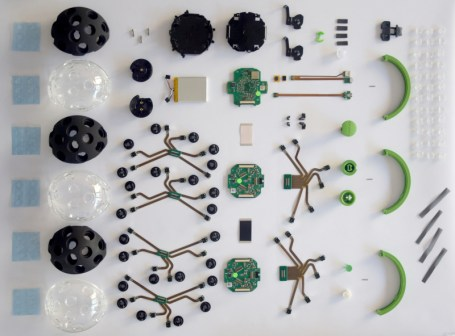 The internal components of a Panono camera prior to assembly.