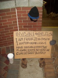 Frank the invisible homeless was one of the many inspirations for this project.