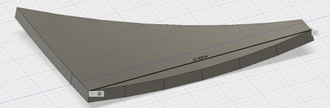 The parabola, imported into Fusion 360, extruded into a dish, and cut into hexagonal segments.