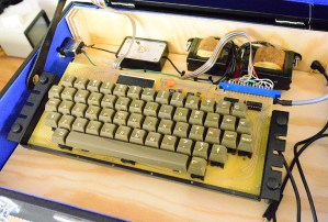 A replica Datanetics keyboard, used with the Mimeo replica