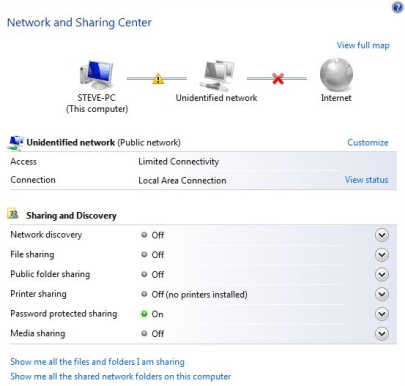Network and Sharing Center in Windows