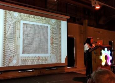 Core memory slide during Pamela Liou's talk