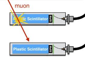 Muon detector showing the scintillator and photmultiplier