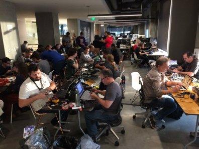 Badge hacking heating up (photo by @hackerwarehouse)