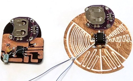 Left: The first generation of the breakout taught in the workshop. Image by Martin De Bie. Right: The third cut from copper foil, soon to be conductive fabric. Photo by Adrian Freed.