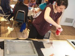 Screen printing with Pauline.