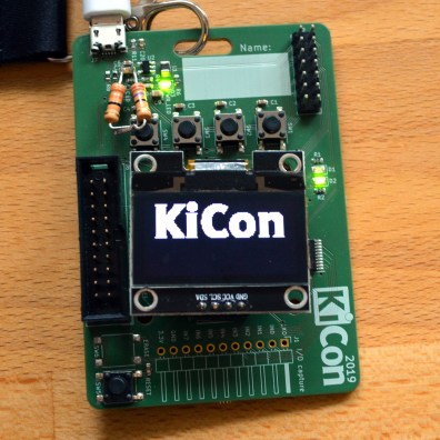 Front of badge (two additional resistors is a hack to keep the USB power bank from sleeping)