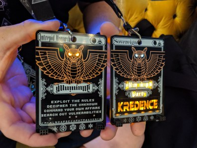 Kredence monarch and sovereign badges at DC27