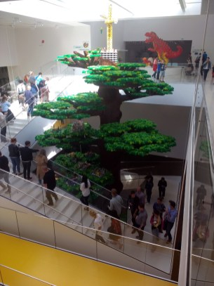 The full-sized tree in the atrium of Lego House.