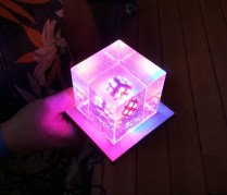 The LED/resin cube in all its glory.