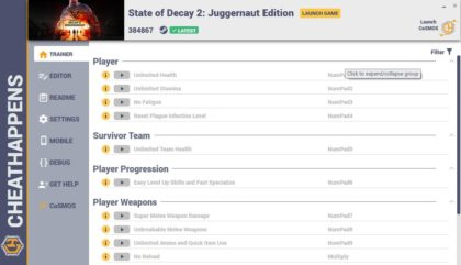 State of Decay 2 Juggernaut Edition Trainer Unlimited Health