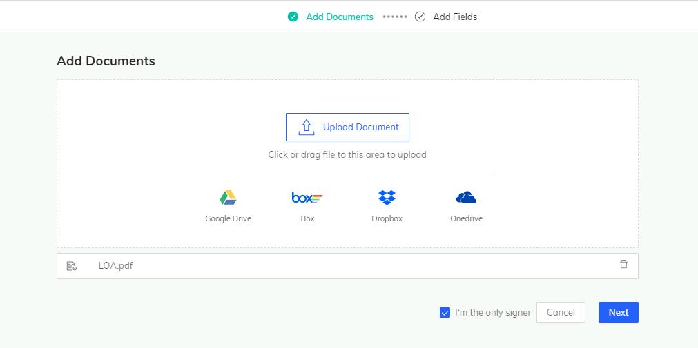 Cocosign upload documents