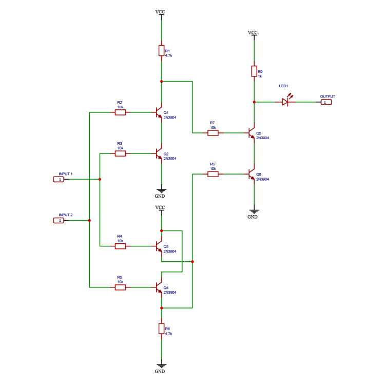 Schematic drawing of a logic XNOR gate using NPN BJT transistors