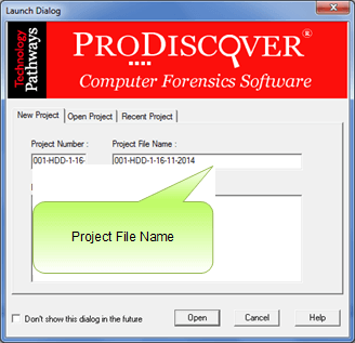 ProDiscover Incident Response Project File Name