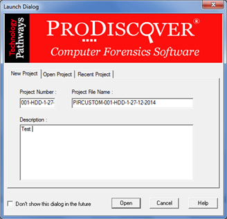 forensics case number & project file name