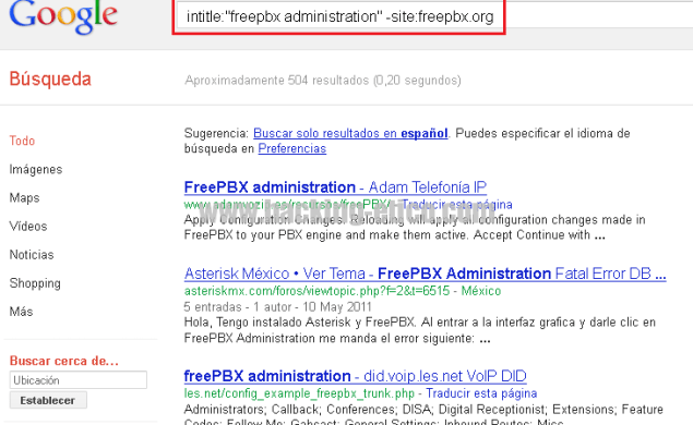 Search Engine Hacking Ético - FreePBX Search 1