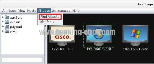 Este botón nos permite buscar los exploits que se pueden lanzar a cada uno de los equipos