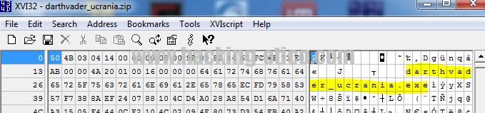 WinRAR - ZIP en hexadecimal