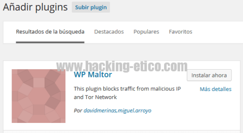 WP Maltor - Plugin de seguridad para WordPress