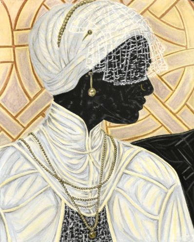 TOYIN OJIH ODUTOLA The Bride, 2016 charcoal, pastel and pencil on paper 24 x 19 inches (paper) 31 1/8 x 26 1/8 x 1 1/2 inches (framed)©Toyin Ojih Odutola. Courtesy of the artist and Jack Shainman Gallery, New York.