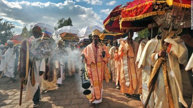 Priests and monks celebrate the Ethiopian Orthodox festival of Timkat, which remembers the Baptism of Jesus in the Jordan River
