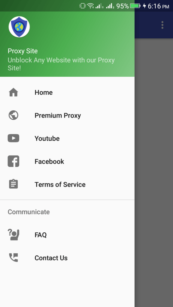 ScreenShot of ProxySite App