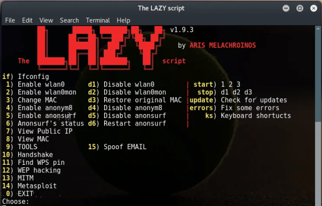 The LAZY Script - Script to Automate WiFi Penetration & Hacking Tasks